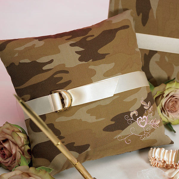 Discerning Camouflage Ring Bearer Pillow