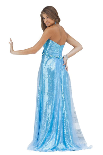 Blush 9366 Sky Blue Size 10 strapless sequin with overlay, Sale $183