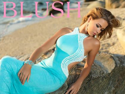 Blush 9922 Turquoise Size 8 prom dress, open beaded back