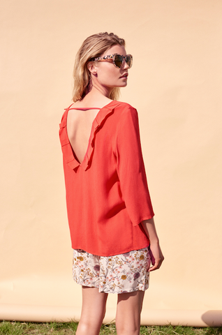 ICHI Carat blouse in aurora red