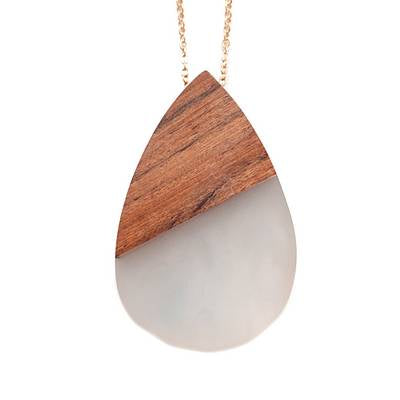 Meghan Browne Long Necklace Wood Tear Drop