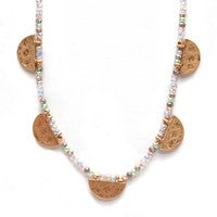 Meghan Browne Multi Color Necklace w/Gold Half Moon