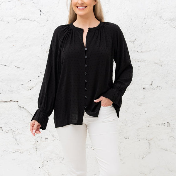 Black Dotted Swiss Blouse