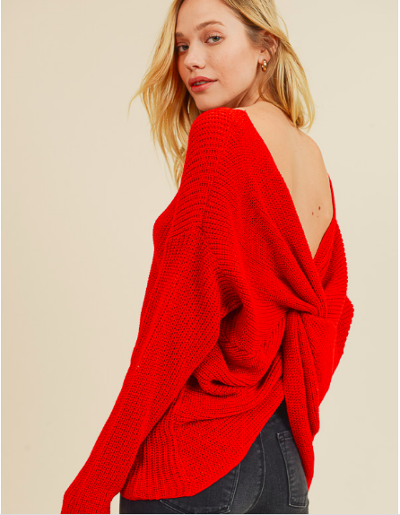 In Loom Knotted Back Sweater