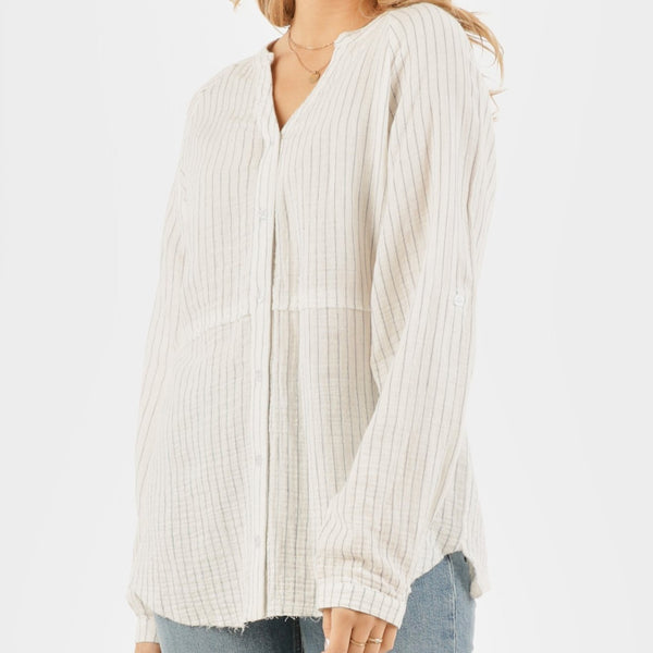 Very J Striped Long Sleeve Blouse