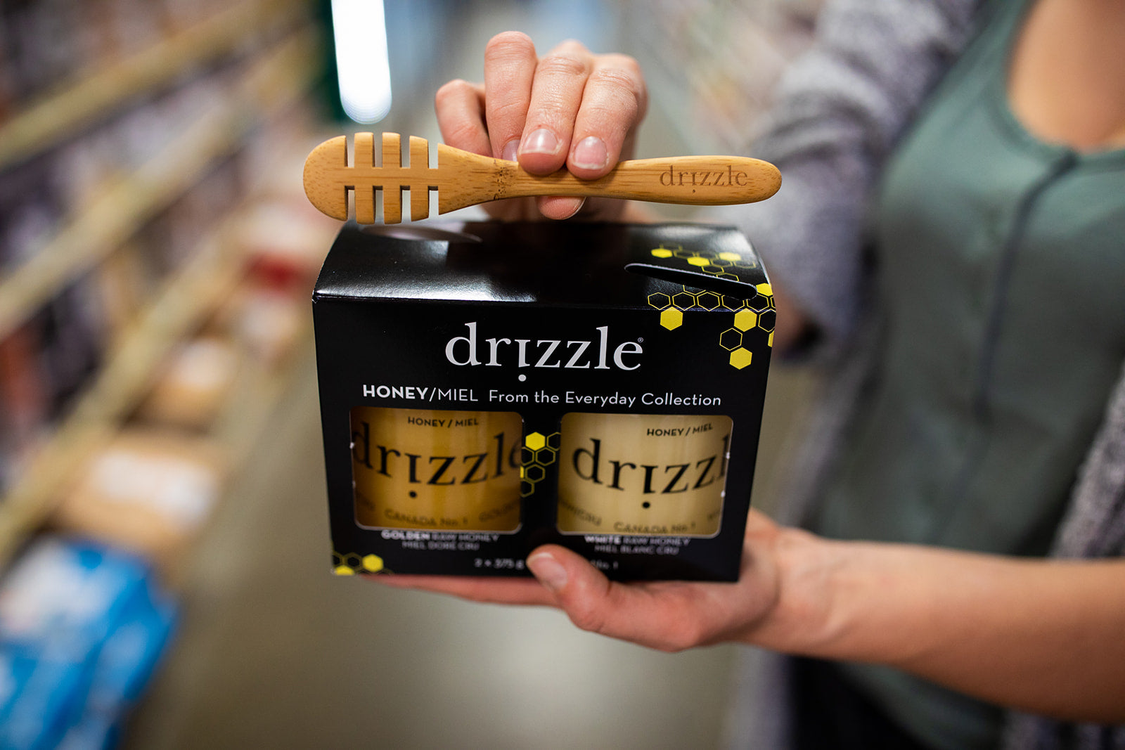 Drizzle Honey Everyday Collection Box at a grocery store.