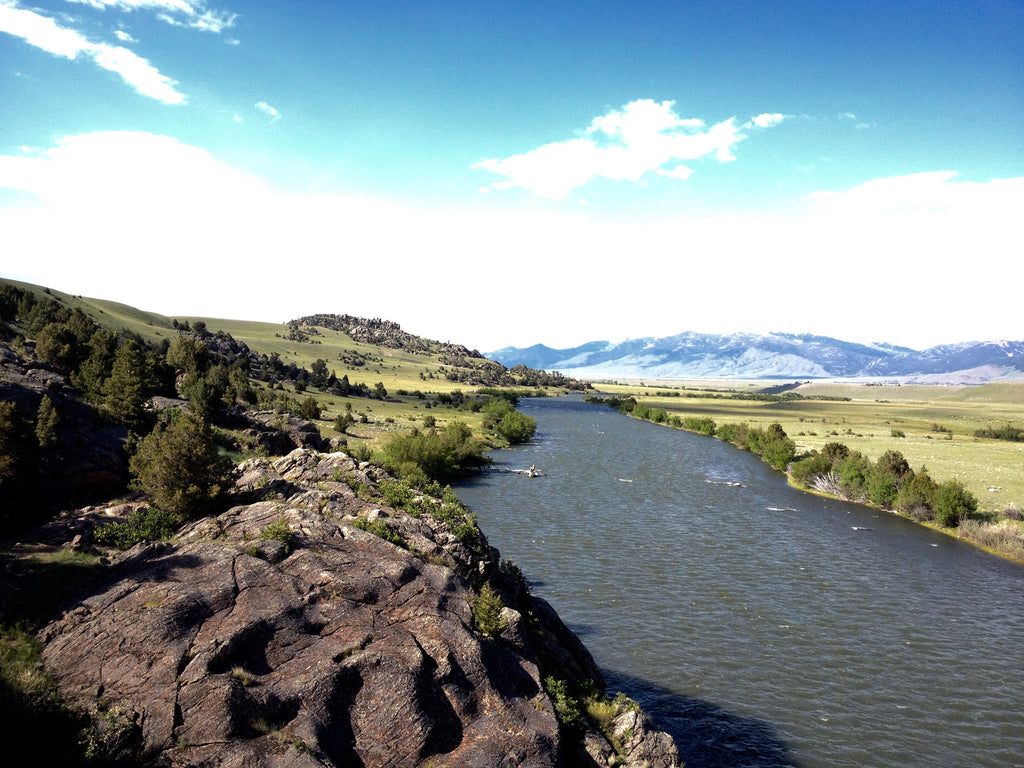 View north on the Madison River as seen from the Hole in the Wall rock structure on the upper river near Ennis, Montana.