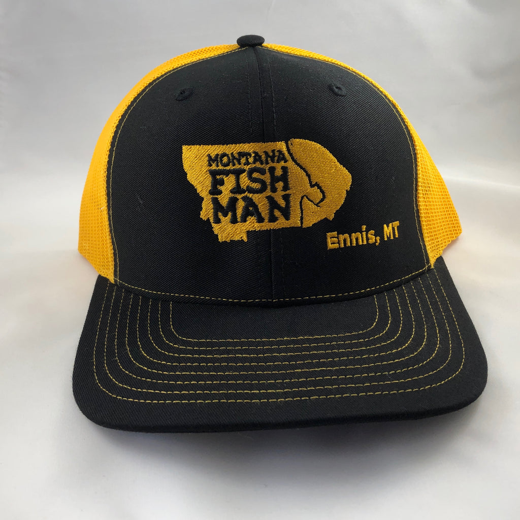 Montana Fish Man Logo Trucker Cap in Black and Yellow