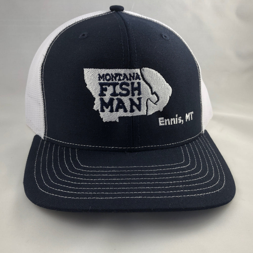 Montana Fish Man Logo Trucker Cap in Navy and White