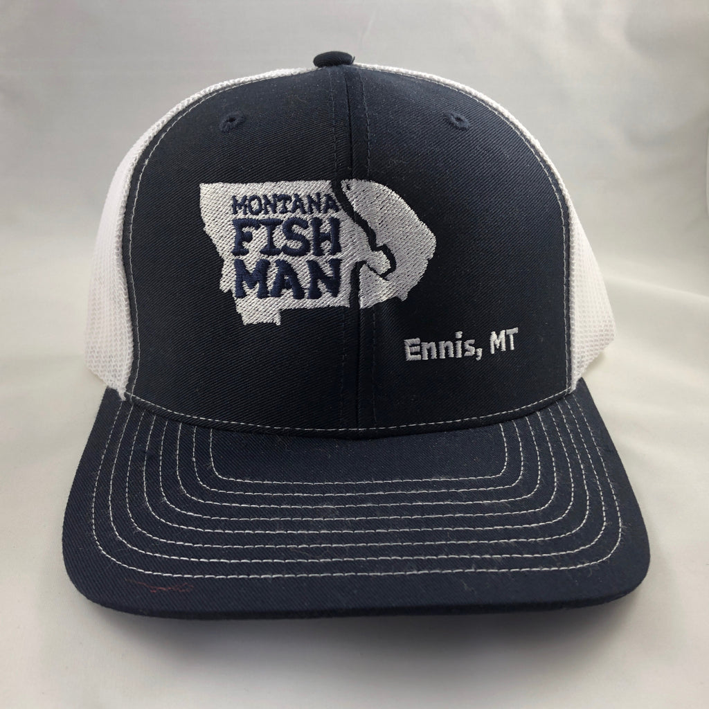 Montana Fish Man Logo Trucker Cap in Navy and White Offset Logo