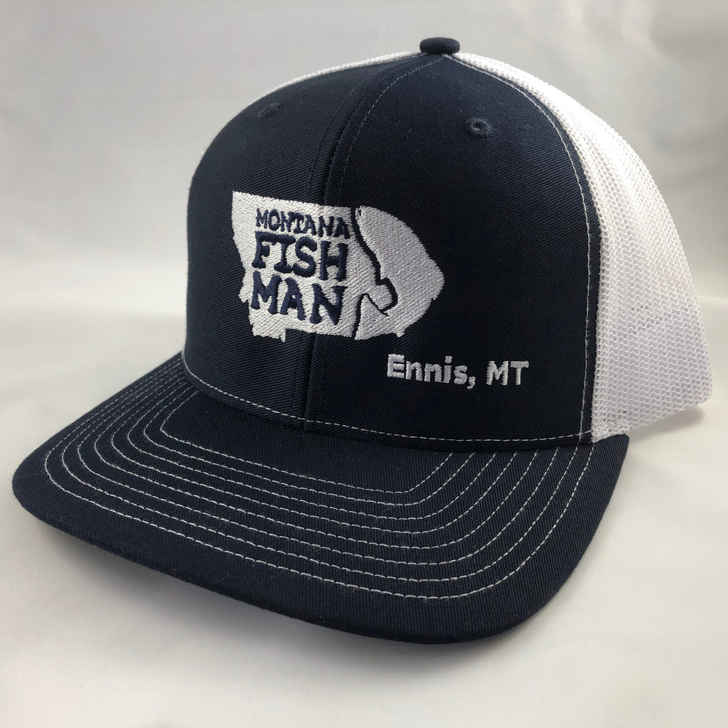 Montana Fish Man Logo Mesh back Trucker Cap in navy and white