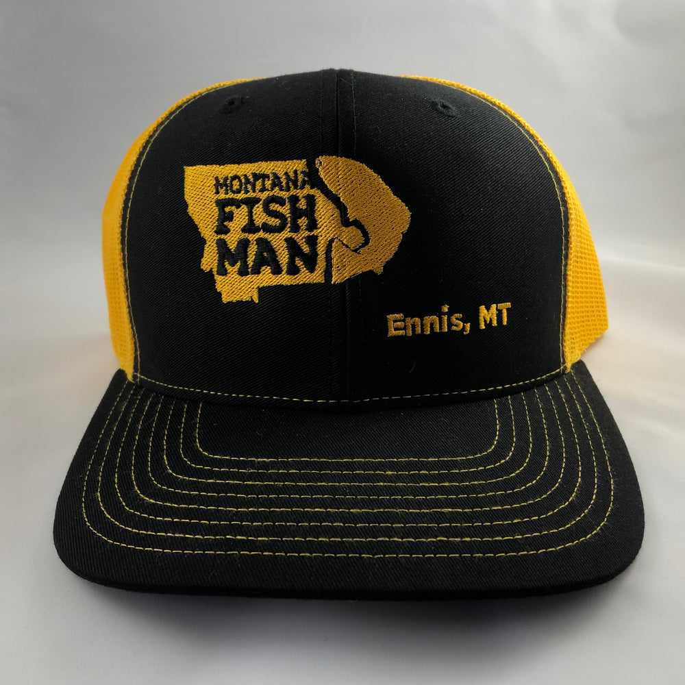 Montana Fish Man Logo Trucker Cap in Black and Yellow Offset Logo