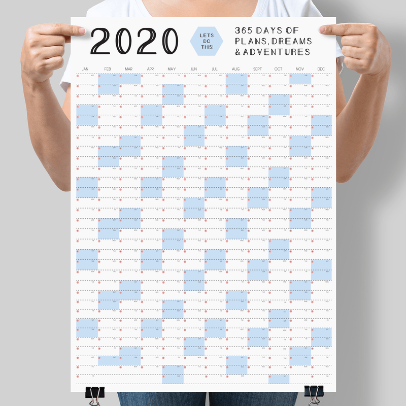 2020 Calendar Wall Planner LIGHT BLUE