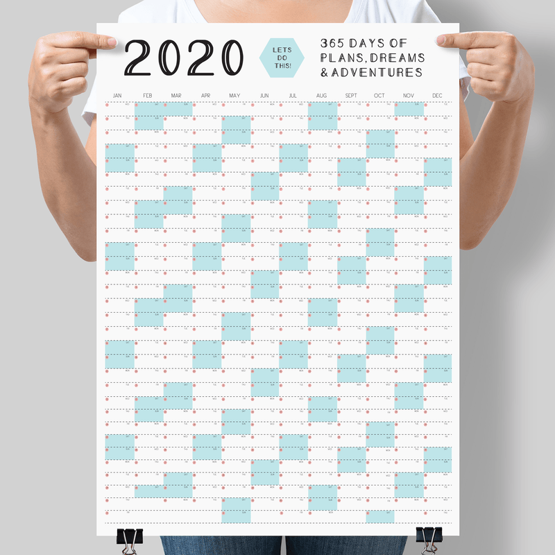 2020 Calendar Wall Planner MINT GREEN