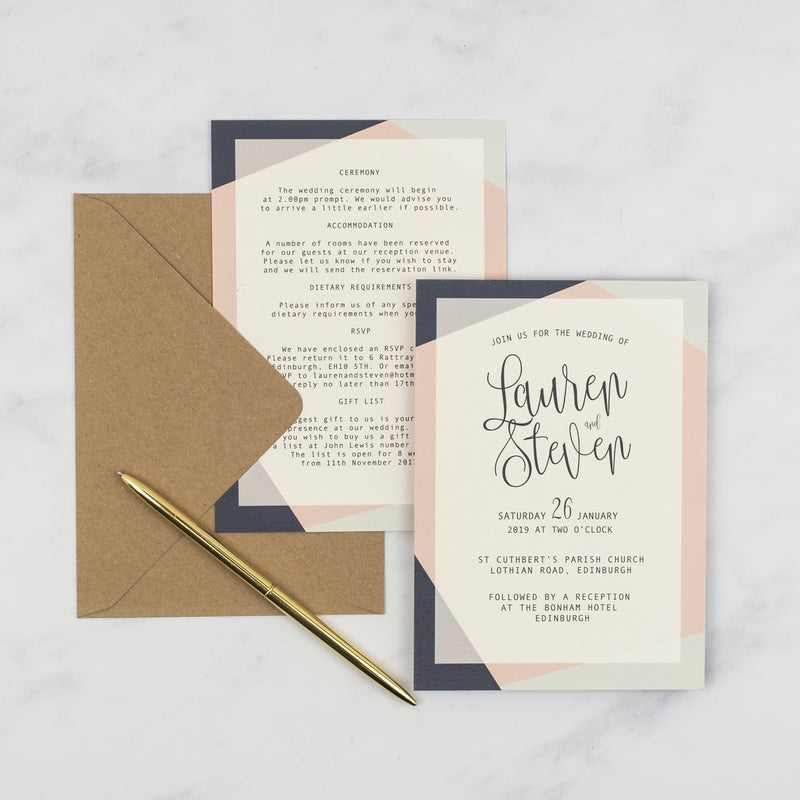 Lauren Geometric Wedding Invitation