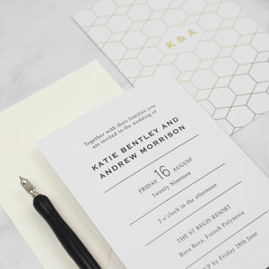 Catherine Gold Foil Wedding Invitation