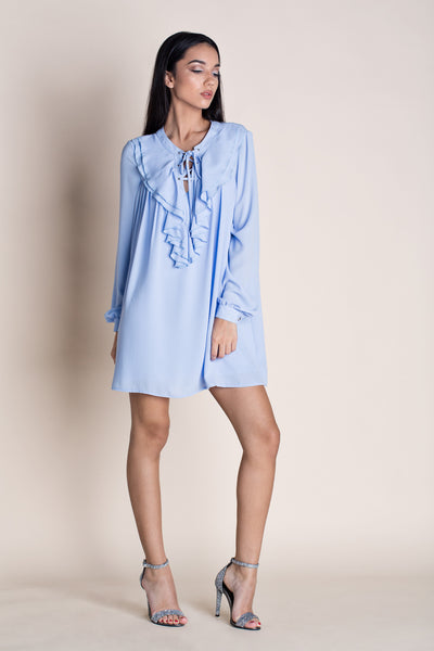 OVER THE EDGE BOHO MINI DRESS - BLUE