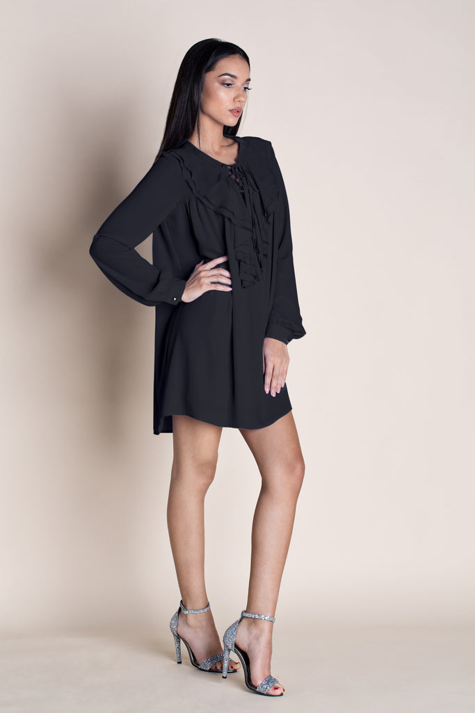 OVER THE EDGE BOHO MINI DRESS - BLACK