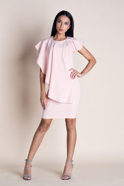 BIG CITY LIGHTS RUFFLED OVERLAY MINI DRESS POWDER PINK