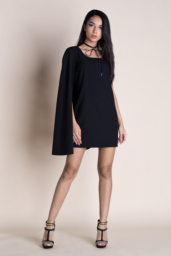TRENDSETTING SIDE CAPE-STYLE MINI DRESS