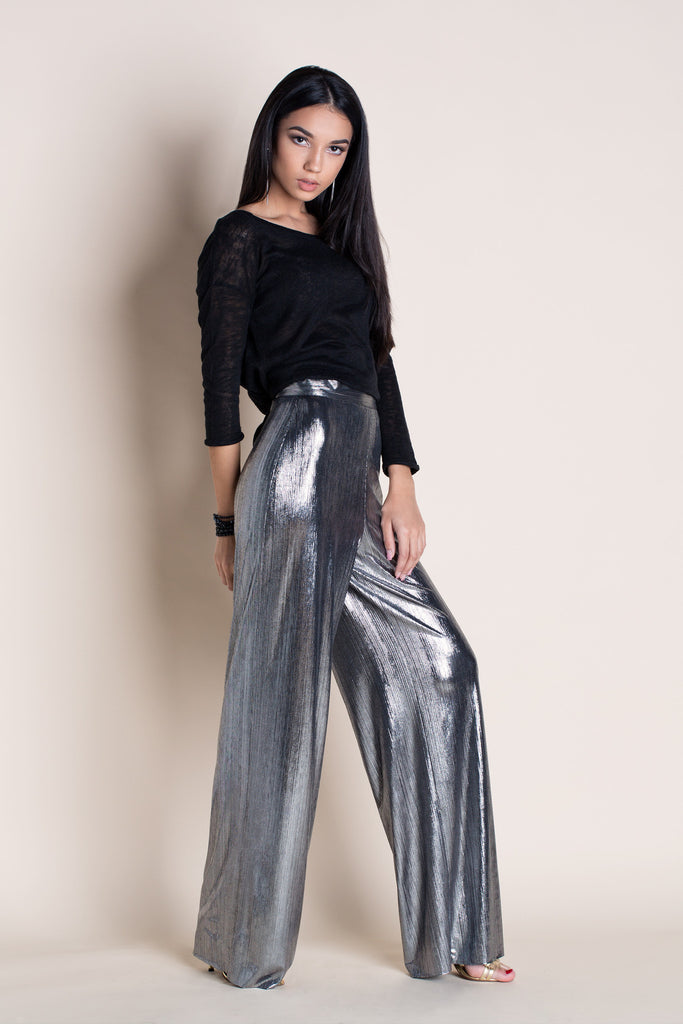 COSMIC SILVER WIDE-LEG PANTS
