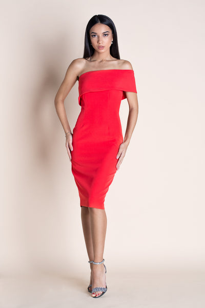 MUSE - OFF THE SHOULDER DRESS - RED