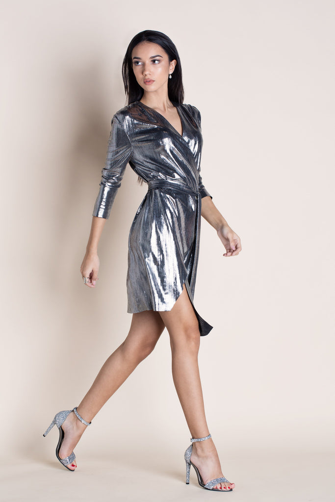 STAR SILVER WRAP DRESS
