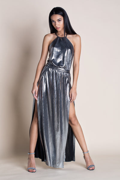 GODDESS METALLIC HALTER DRESS