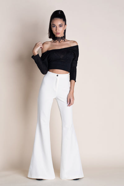 FLARED HIGH WAISTED PANTS