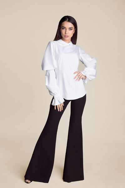 Jasmine Bishop Sleeves White Blouse