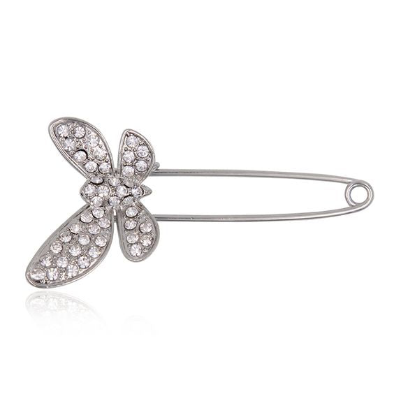 BROSA SAFETY-PIN SILVER BUTTERFLY