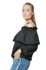 ROMANTIC AFFAIR OFF-THE-SHOULDER RUFFLED TOP - BLACK