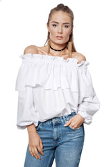 ROMANTIC AFFAIR OFF-THE-SHOULDER RUFFLED TOP