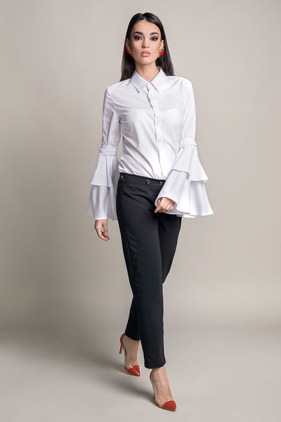 DOUBLE DATE WHITE BELL SLEEVE SHIRT