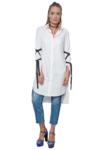 CITY STREETS SHIRT-DRESS WHITE