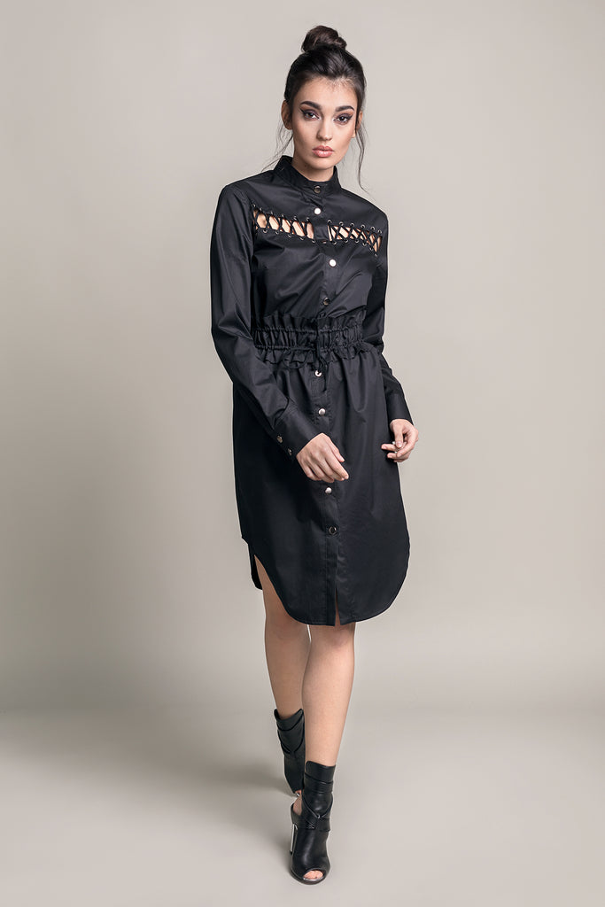 ROCK IT  BLACK LACE-UP SHIRT DRESS