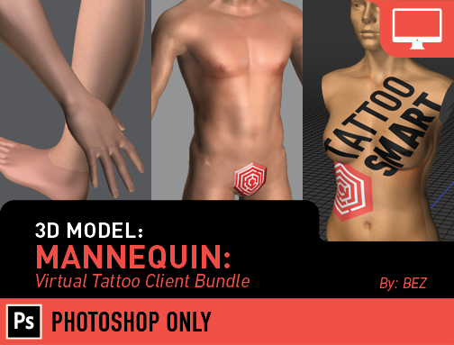 3D Model: Mannequin- Virtual Tattoo Client Bundle