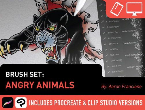 Brush Set: Angry Animals