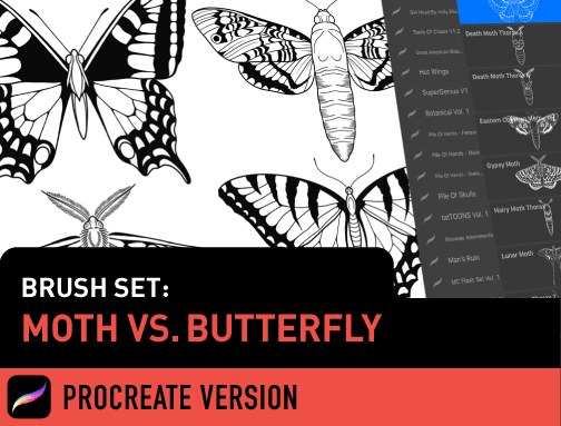 Brush Set: Moth vs. Butterfly