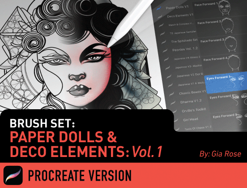 Brush Set: Paper Dolls & Deco Elements Vol. 1
