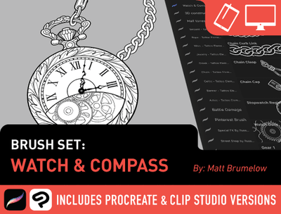 Brush Set: Watch & Compass