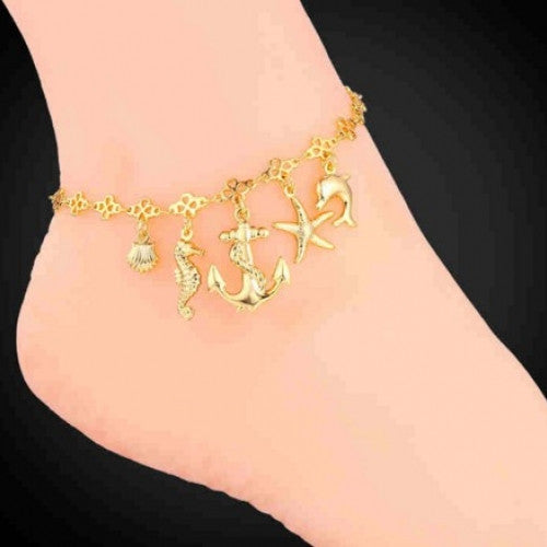 Sea Shell Dolphin Anklets for Women