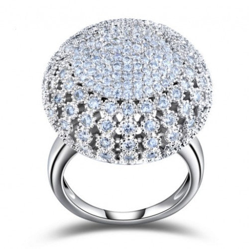 Zircon Full Paved Round Shaped Vintage Ring