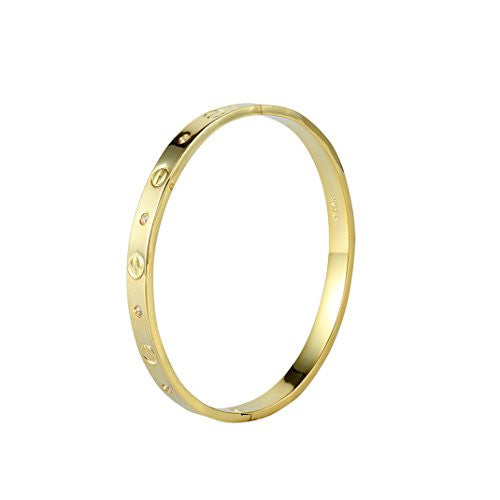 Cugbo Designer Inspired Stainless Steel Bangle Bracelet for Women or lovers sweethearts (Rose Gold)