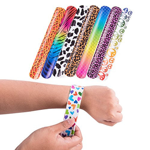 Slap On Plastic Vinyl Retro Bracelets with Colorful Hearts & Animal Print Design Patterns for Children, Toy Party Favors (72 Pack) by Super Z Outlet