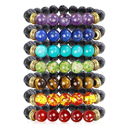 7 Chakra Healing Bracelet with Real Stones, Volcanic Lava, Mala Meditation Bracelet - Men's and Women's Religious Jewelry - Wrap, Stretch, Charm Bracelets - Protection, Energy, Healing 7.25 in