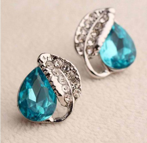Blue Ocean Heart Water Drop Crystal Stud Earrings