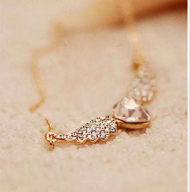 Angel Wings Gold Plated Heart Shape Necklace
