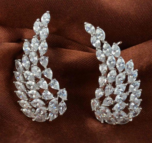 Zircon Angel Wings Clip Earrings