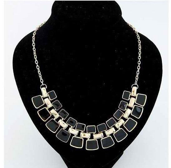 Link Chain Collar Long Plated Enamel Statement Necklace